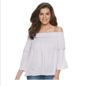 **NEW** JLO Purple Off Shoulder Peasant Top Blouse
